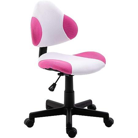 IDIMEX Chaise de Bureau pour Enfant Osaka Fauteuil pivotant avec Hauteur réglable, revêtement en Mesh Blanc/Rose