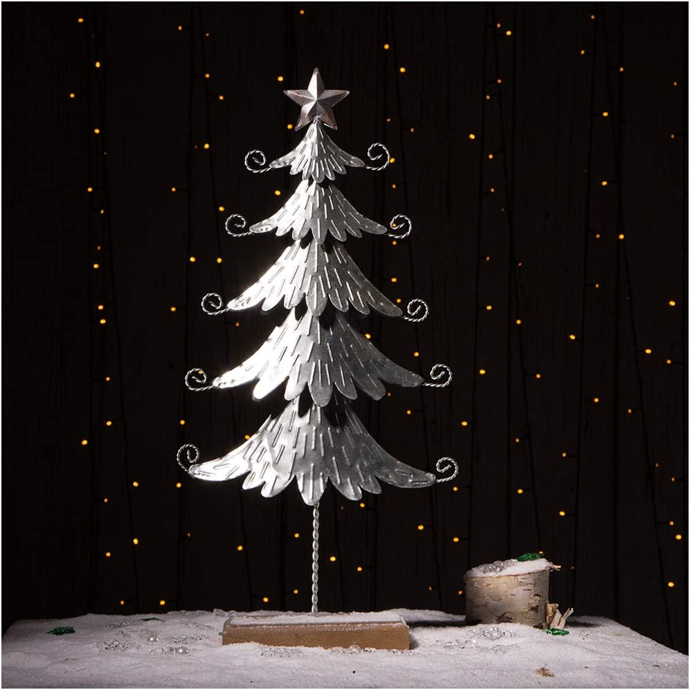 glitzhome Galvanized Table Year-end annual account Tree Home High material Deco Display Christmas