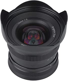 Mugast カメラ広角レンズ 12mm 焦点距離 f2.0スーパーワイドアングル 非球面 HD広角レンズ 15Xマクロレンズセット 光学ガラス 高い光透過率 フォーカスレンズ スマホ対応 (Canon EF-Mマウント用)