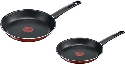 Tefal Simplicity Frying Pan, Red/Black, 26cm + 24cm, B3050572P2