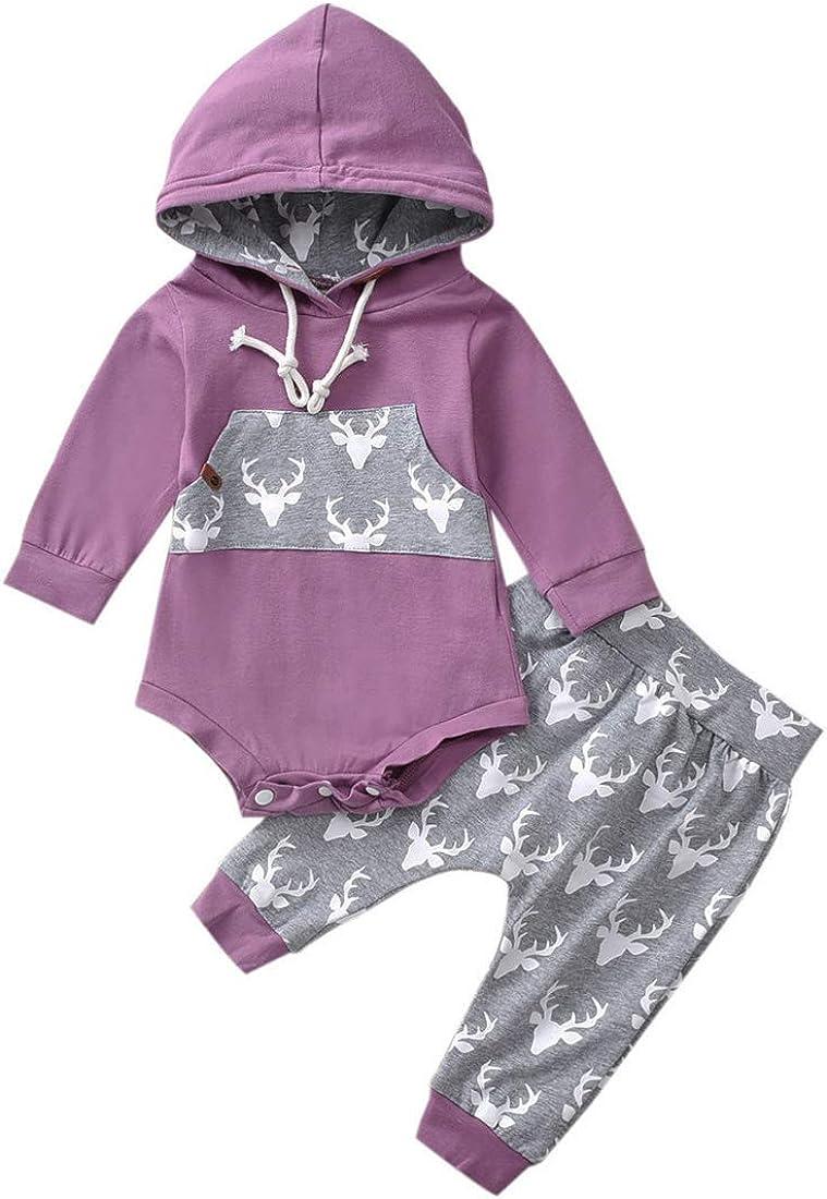 Newborn Baby Boy Girl Long Sleeve Deer Romper Hooded To Pullover New product type Spasm price