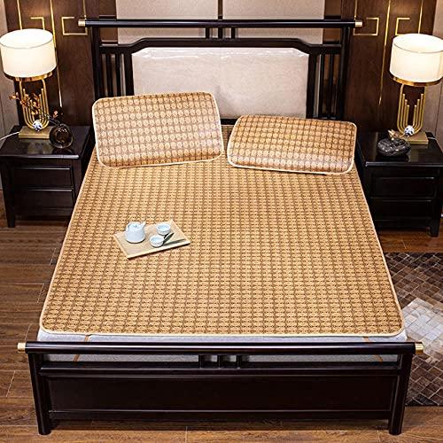 2pcs / 3pcs Rattan Mat Funda de colchón Summer Cool Sleeping Mat con Funda de Almohada 1.5m 1.8m 2.0m Funda de Cama Plegable Colcha-Style_D_195x120cm_2pcs