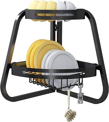 Apsan - Escurridor de platos para colocar sobre el fregadero, 2 niveles ajustable para encimera de cocina, escurridor de platos plegable, ahorra espacio, color negro