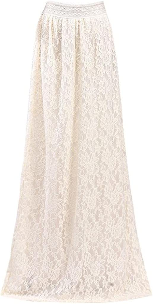 VEZAD Lace Double Layer Pleated Long Maxi Skirt Women Elastic Waist Skirt