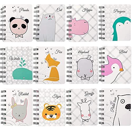 12 Stück Klein Notizblock, Kinder Mini Notizblock, Mini Tagebuch Notizblock, Notizbuch Spiralnotizblock, Spiralbindung mit Cute Cartoon Muster für Bürobedarf Schreibwaren (160 Seiten)