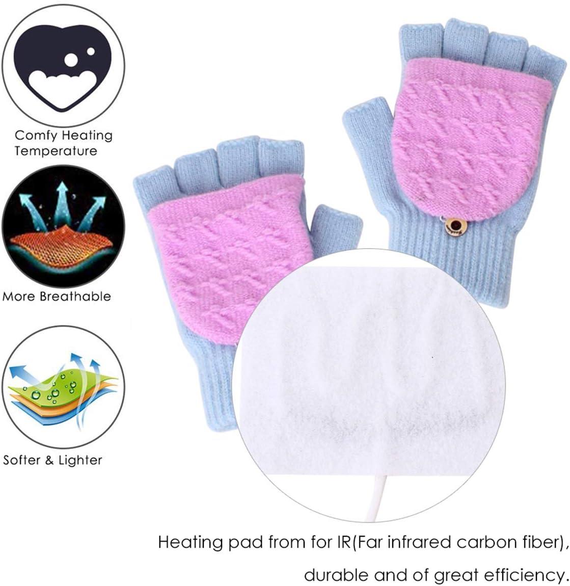 Petyoung Unisex USB Heated Gloves Winter Full /& Half Fingers Warmer Laptop Gloves Mittens for Women Men Girls Boys Best Winter Gift Choice Light Gray + Purple