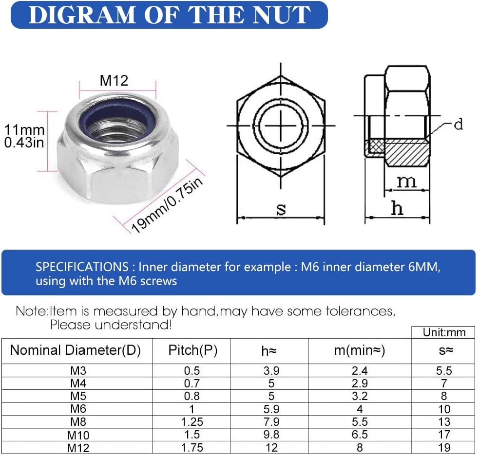 15 Pcs M10 Lock Nuts 10mm Nylon Insert 316 Stainless Steel Metric Hex