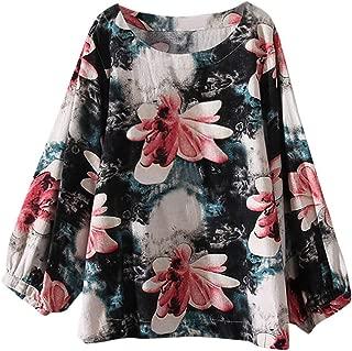 HTDBKDBK Blouse Women Casual Plus Size Cotton and Linen Tee T Shirt Vintage Boho Floral Loose Blouse Tops 2019