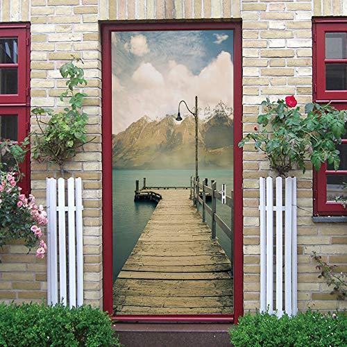 Puerta Pegatinas Mural Lago, Puente de Madera, Montaña Papel Pintado Arte Decoración del hogar 86x200cm