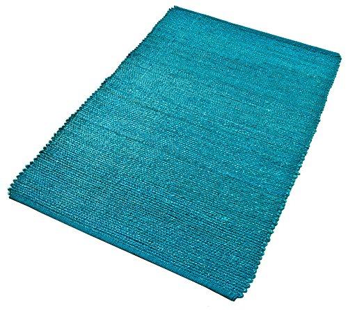 PuRo Lifestyle Hanfteppich Blau Grün Petrol Natur robust handgefertigt langlebig, Größe:90 cm x 160 cm