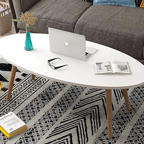 KaminHome - Mesa Centro salón Marcus Ovalado Blanco de Madera diseño nórdico escandinava Moderno para hogar Oficina área Descanso Patas Madera (120 cm x 60 cm x 42 cm)