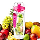 Bottiglia Acqua Detox 1 Litro Bottiglia Infusore Frutta Riutilizzabile Tritan Resistente senza BPA Impugnatura Antiscivolo Borraccia Sportiva (Rosa)