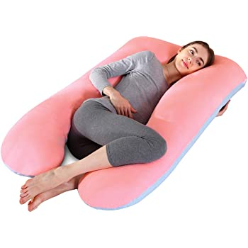 Almohada de Embarazo con Funda reemplazable y Lavable 165 x 80 cm, Jersey, Gris QUEEN ROSE Almohada de Cuerpo Almohada con Forma de L