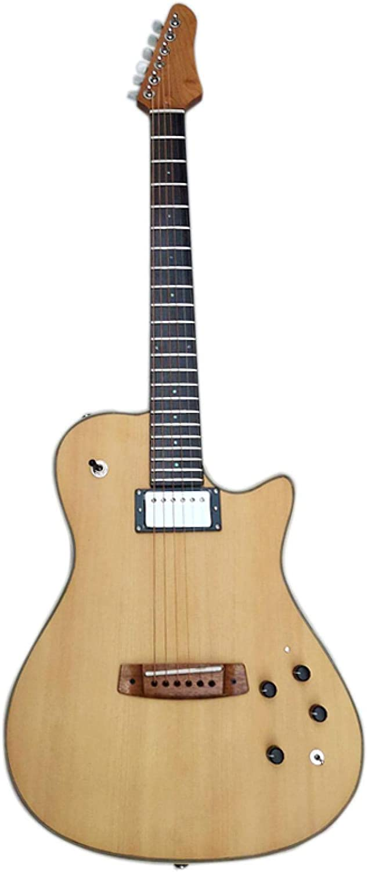 KEPOHK Guitarra acústica eléctrica silenciosa portátil con efecto incorporado tapa de abeto