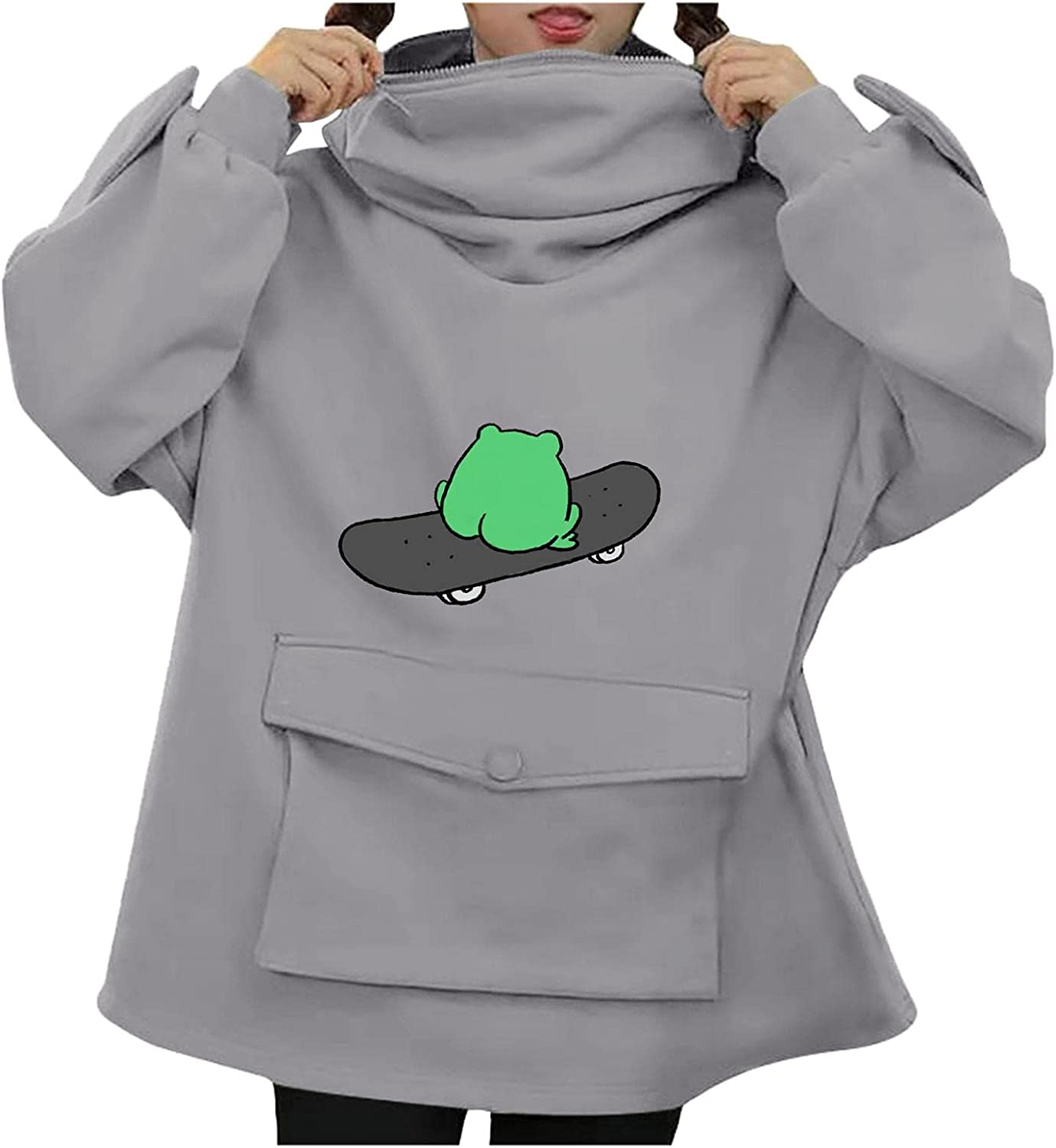Hotkey Hoodies for Women, Women's Autumn Cute Frog Hooded Zipper Sweatshirt with Large Front Pocket Long Sleeve Pullover