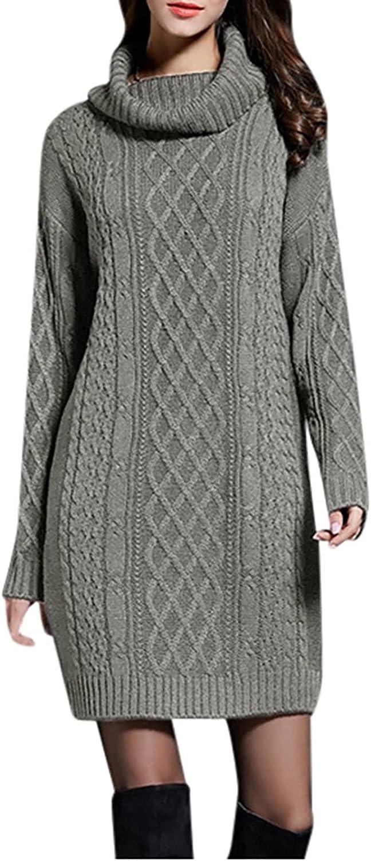 Women's Solid Color Knit Pattern Long Sleeve Sweater Dress Pullover Sweatshirt Sweater