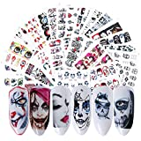 25 Sheets Halloween Nail Stickers Day of the Dead Water Transfer Nail Decals Skull Ghost Eye...