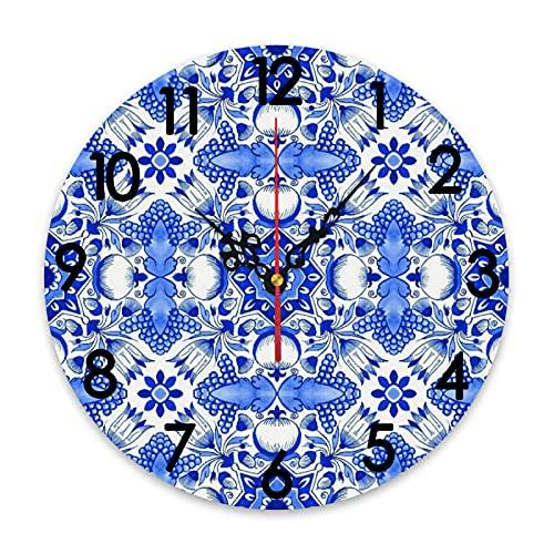 GEEVOSUN Reloj de Pared Redondo, Reloj silencioso, Acuarela, Tradicional, Azul de Delft, Azulejos holandeses, Tulipanes Florales, Formas geométricas, Fondo Blanco Cobalto, decoración del hogar para s