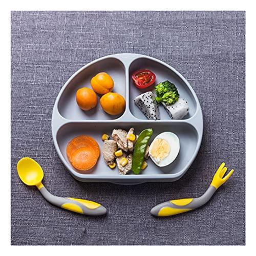 La Ventosa de Silicona de la Placa para los niños es Adecuada para la Cena de los niños pegada a la Bandeja de la Silla Alta (Color : Gray)