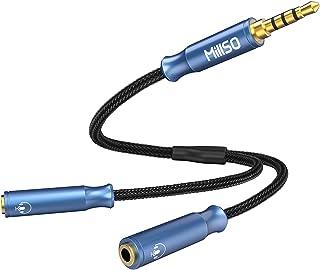 4極 2分配ケーブル オーディオ+マイク機能搭載 分岐ケーブル 音声シェア チャット対応 MillSO 3.5mmオーディオ分配ケーブル CTIA規格 3.5mm ステレオミニジャック(メス)×2⇔ステレオミニプラグ(オス) 高耐久性 30cm