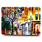 """HRH Bright Street Painting Pattern Design Laptop Body Shell Protective PC Hard Case for MacBook 12"""" with Retina Display A1534 (2015 Release)&A1931(2018 Release)"""