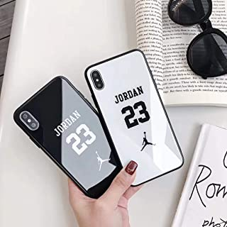 Trend Fashion Jordan Case - Glass TPU Phone Case Cover for iPhone 6 6s 7 8 Plus X XR XS Max Jordan 23 Basketball Shell Protection (White, for iPhone 8 Plus)
