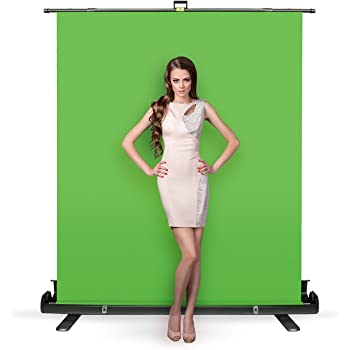 Julius Studio 5 ft.(W) x 6 ft.(H) Collapsible and Retractable Green Chroma Key Screen, Background Stand with Aluminum Case, Backdrop Stand Frame with Auto-Locking Air Cushion, JSAG445