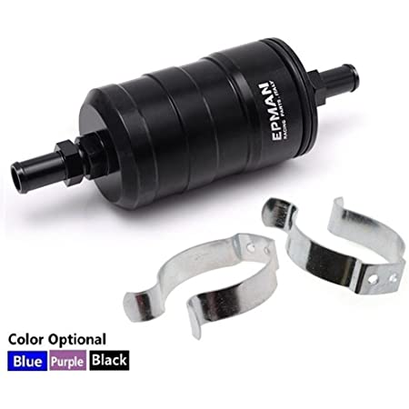 amazon.com: high flow racing alloy fuel filter with 10 micron paper filter  (black) : automotive  amazon.com