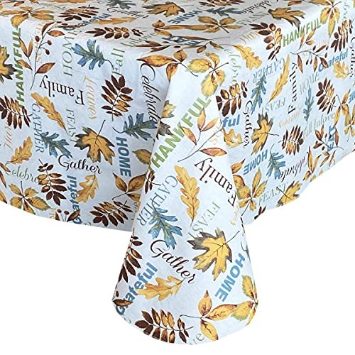"""Lintex Fall in Love Colorful Leaves PEVA Non Toxic Autumn Vinyl Tablecloth, Thanksgiving Harvest Gathering Easy Care PEVA Fall Tablecloth, 52"""" x 70"""" Oblong/Rectangle"""