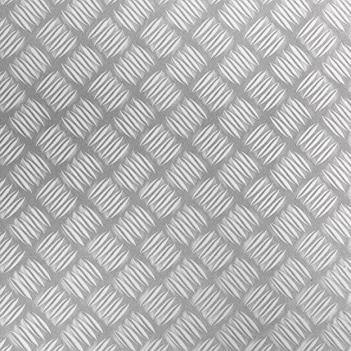 Venilia Klebefolie Industrial-Optik Metall Riffel Matt mit Struktur Dekofolie Möbelfolie Tapeten selbstklebende Folie, PVC, silber, 45 cm x 1,5 m, Stärke: 0,215 mm, 53126