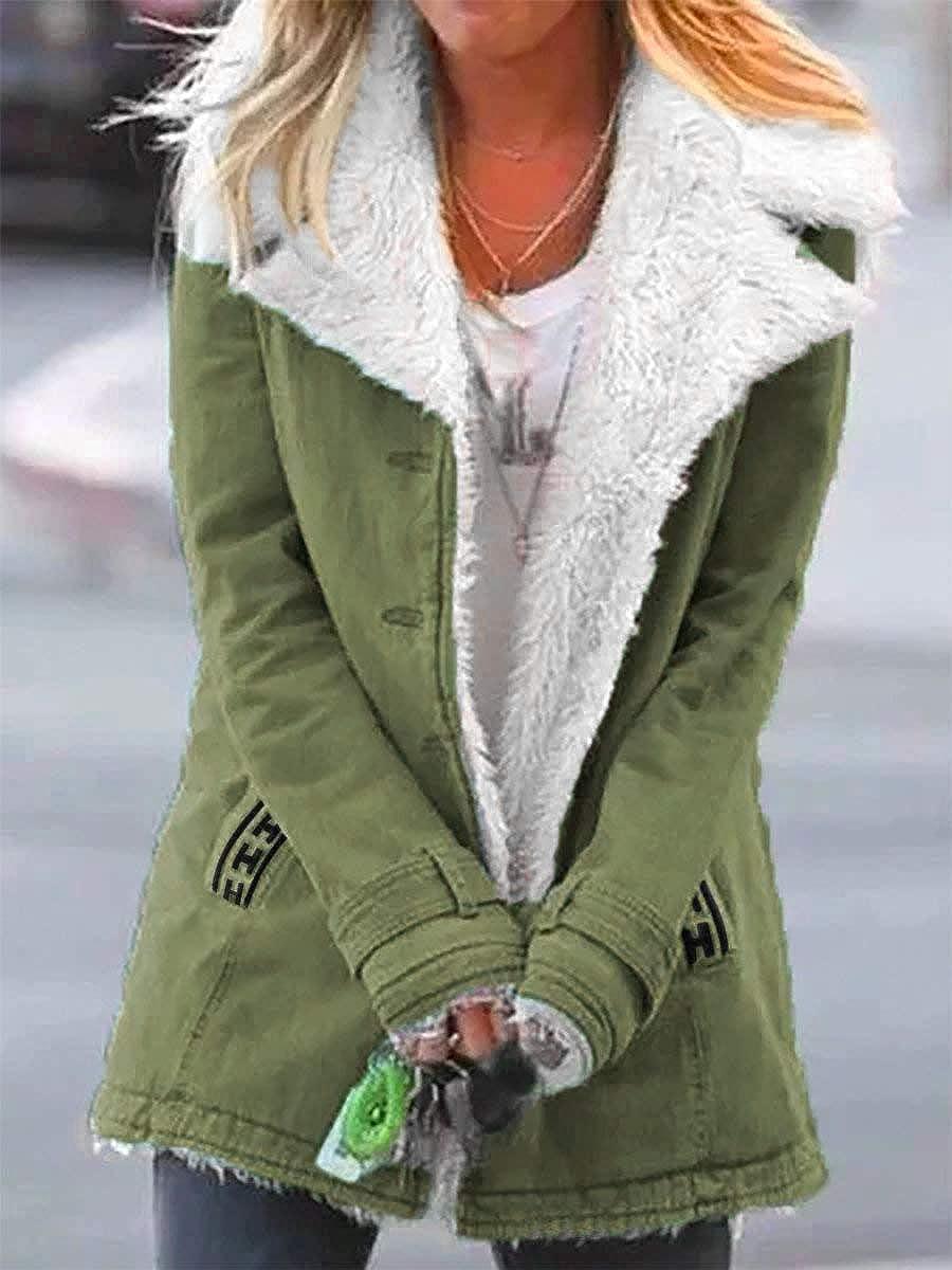 ORANDESIGNE Damen Kapuzen Faux Fleecejacke Knopf Langarm Patchwork Warm Verdicken Mantel Overcoat Plüschmantel Winterjacke Daunenjacke Grün