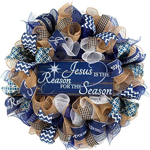 Jesus is the Reason Christmas Wreath - Church Christian Religious Front Door Wreath - Navy Gold Burlap Farmhouse