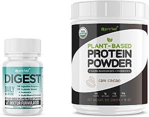 Pure Food Digest (Digestive Enzymes Plus Probiotics & Prebiotics) + Chocolate Plant-Based Protein Powder Bundle | Vegan, Doctor Formulated | 30 Plant-Based Capsules + 512-gram Tub of Protein