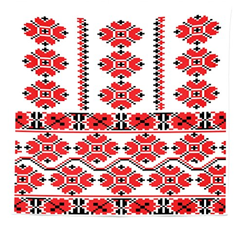 Lunarable Ukrainian Tapestry Queen Size, Pixel Art Inspirations Floral Bouquet Canonical Rushnik Motifs Influences, Wall Hanging Bedspread Bed Cover Wall Decor, 88' X 88', Black Red