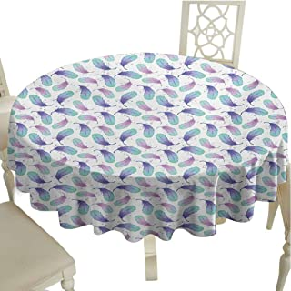 Feather Fabric Tablecloth Pastel Watercolor Plumage Angel Love Wings Positive Vibes Boho Outdoors Round Tablecloth Diameter 54
