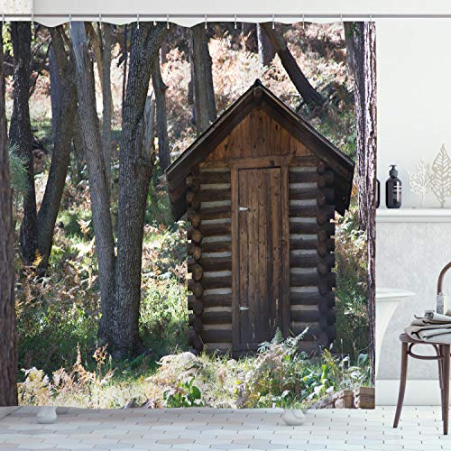 Ambesonne Outhouse Shower Curtain, Wooden Prehistoric Life Barn Shed in Spring Forest Leaves Lumberjack Photo, Cloth Fabric Bathroom Decor Set with Hooks, 70' Long, Dark Brown