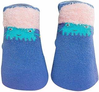 Akaddy, 1 par de calcetines de algodón para bebé recién nacido Calcetines cortos de primavera de dibujos animados (azul)