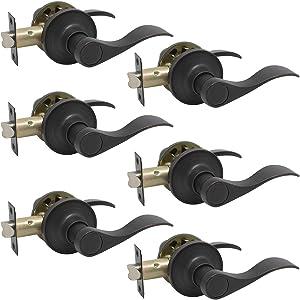 Probrico Passage Hall Closet Door Lever Handle Lockset Keyless Oil Rubbed Bronze Leversets 6 Pack
