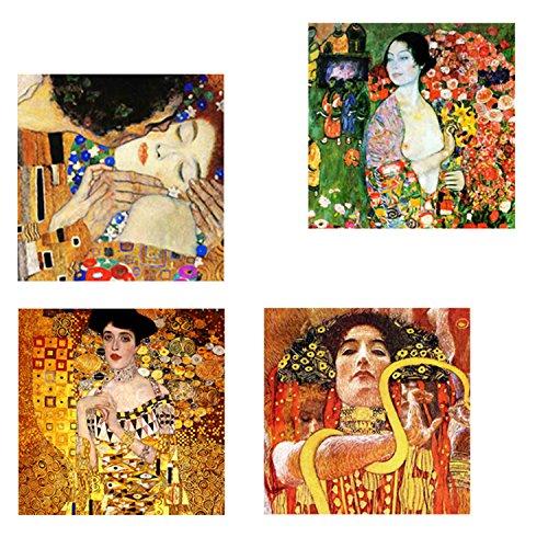Legendarte Gustav Klimt Schilderij-Samenstelling 2-Digitale Print op Canvas pannen, Multi kleuren, cm. 50x50-4 panelen