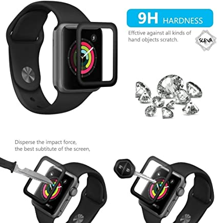 SCEVA iWatch Full Glue Screen Protector 38mm, [3D Full Coverage] [Anti-Scratch] [High Definition] Tempered Glass Screen Protector for Apple Watch 38mm Series 3/2/1 (Black)