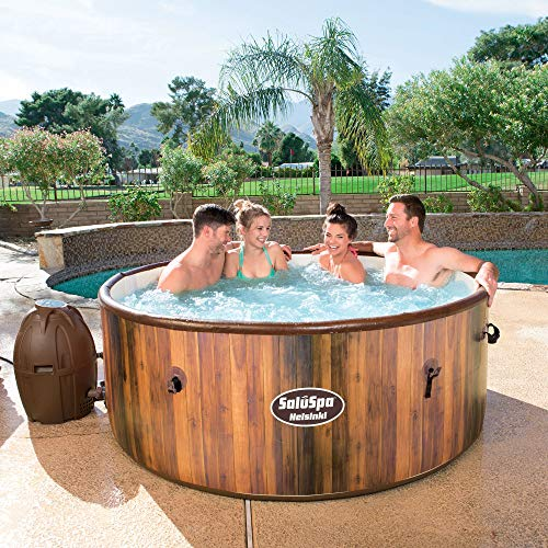 Bestway 54190E SaluSpa Helsinki 7 Person Wood Print Portable Inflatable Round Hot Tub Spa with 81 Air Jets, Cover, Pump, Integrated Filter, and Intex PureSpa Slip Resistant Seat Insert