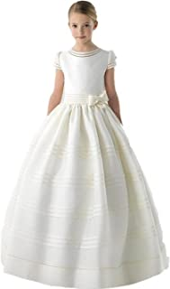 Graceprom Girls Scoop Short Sleeves First Communion Dresses with Bow Flower Girl Dress White