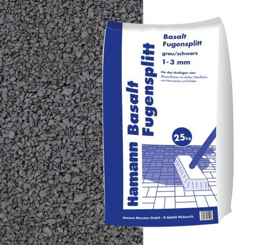 Hamann Mercatus GmbH Basalt Fugensplitt 1-3 mm 25 kg Sack - zur dekorativen, kreativen und individuellen Garten und Weggestaltung