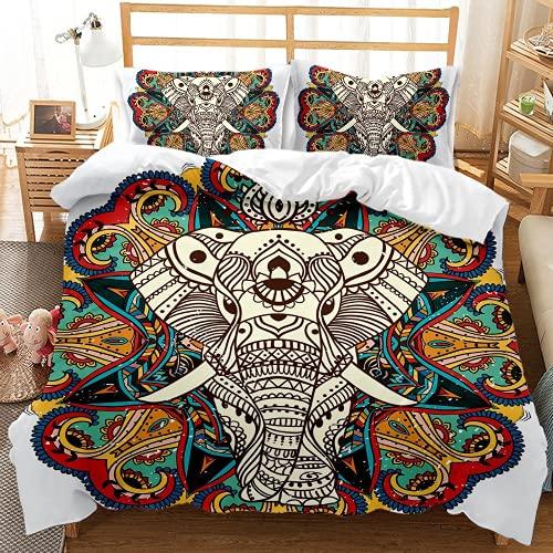 QQMHG Juego de cama 3D bohemio para niña con diseño de elefante, funda nórdica de 135 x 200 cm con 1 funda de almohada de 50 x 75 cm (A-6,220 x 240 cm + 2 x 50 x 75 cm)