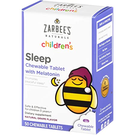 Zarbee's Naturals Children's Sleep with Melatonin Supplement, Natural Grape Flavor, 50 Chewable Tablets