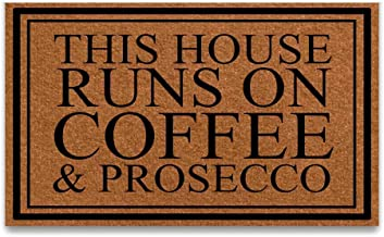 PAPKIU Doormat This House Runs On Coffee & Prosecco Entrance Outdoor/Indoor Funny Floor Door Mat Area Rug for Entrance 23.6x15.7 inch