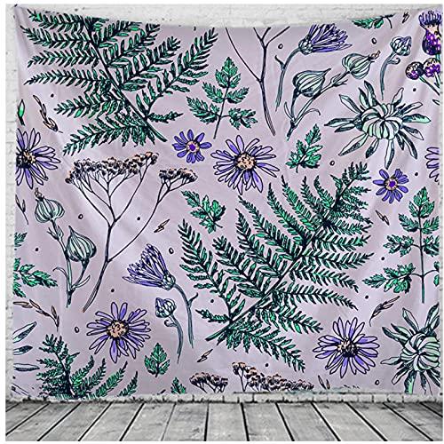 BD-Boombdl Tapiz Plantas tropicales Flores Mandala Colgante de pared Tapete de playa Estera de picnic Decoración Bohemia Dormitorio Revestimiento de pared 59.05 'x78.74' Pulgadas (150x200 cm)