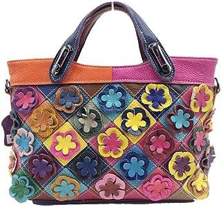 Trendy Lady Leather Handbag Retro Messenger Stitching Flower Shoulder Bag Zgywmz (Color : Multi-colored, Size : 28x20x9cm)