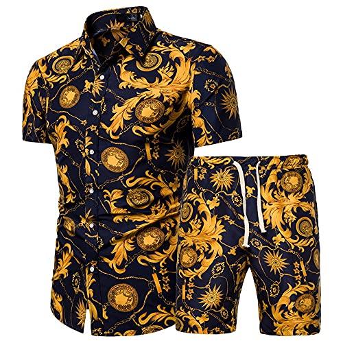 Conjunto Playa Hombre Botones Verano Cuello Kent Hombre Conjunto Estampado Básico Moda Cordones Hombre Manga Corta Ajustado Deportivas Hawaii Hombre Shirts Pantalones Cortos F-DC06 3XL