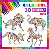 3D Coloring Puzzle Art and Crafts Set,4 Animals Puzzles with 12 Pen Markers, Art Coloring Painting 3D Puzzle for Kids Age 7 8 9 10 11 12. Fun Creative DIY Toys Gift for Girls and Boy